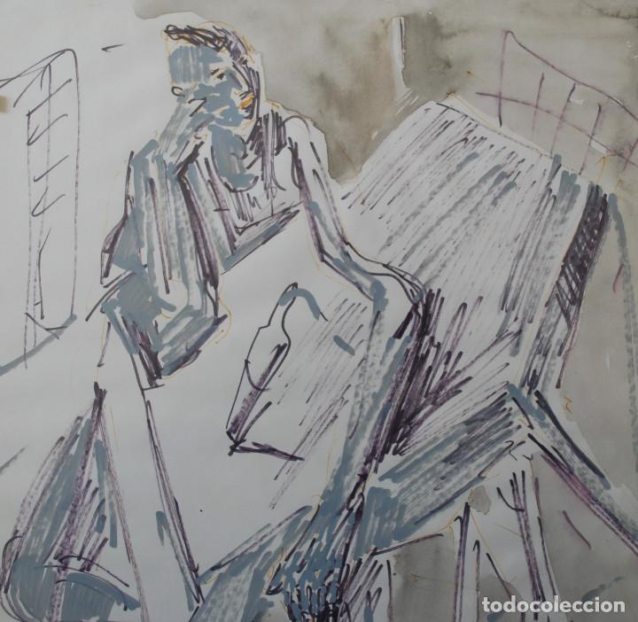 Arte: Laspiur.- Hombre, mesa y botella de vino (Técnica mixta) (ver fotos adicionales) - Foto 8 - 226630360
