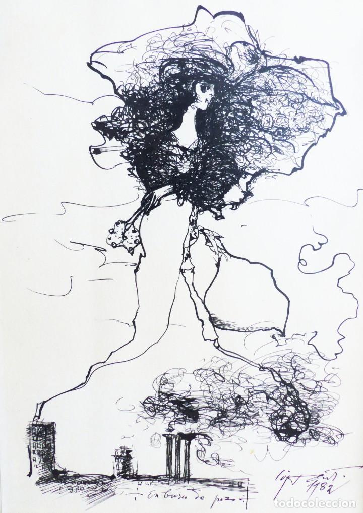Arte: MODEST CUIXART: EN BUSCA DE PAZ. DIBUJO TINTA, 1982. PRECIOSO. - Foto 2 - 226688789
