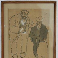 Arte: DIBUJO CARICATURA DE DOS CABALLEROS A TINTA CON ACUARELA. FIRMADO JOI EN 1906. Lote 226858255