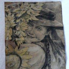 Arte: ANTIGUO Y MUY BONITO DIBUJO IMPRESIONISTA FRANCÉS XIX.. Lote 227228380