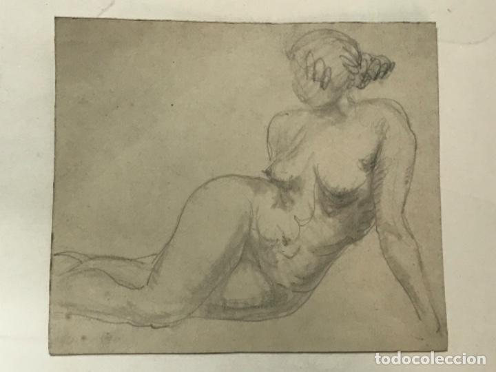 DIBUJO A LÁPIZ DESNUDO FEMENINO 1920'S. ANÓNIMO. (Arte - Dibujos - Contemporáneos siglo XX)
