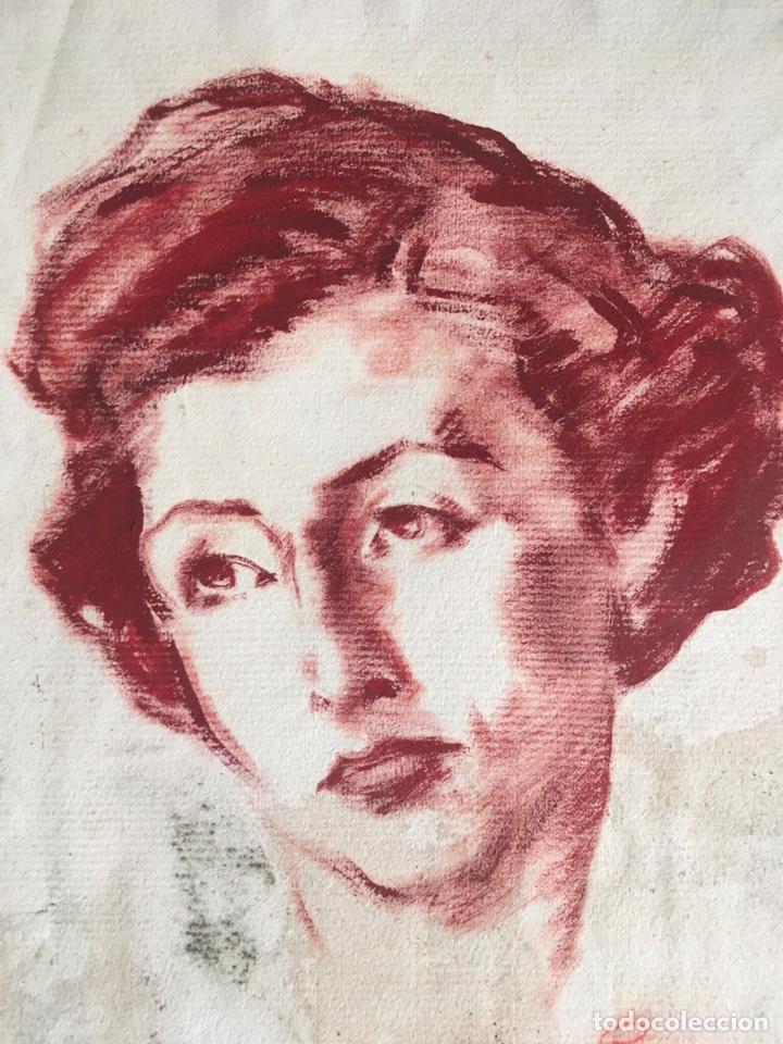 Arte: DIBUJO CON RETRATO FEMENINO DEL PINTOR JOSEP PUIGDENGOLAS BARELLA (BCN 1906-1987) - Foto 2 - 227957380
