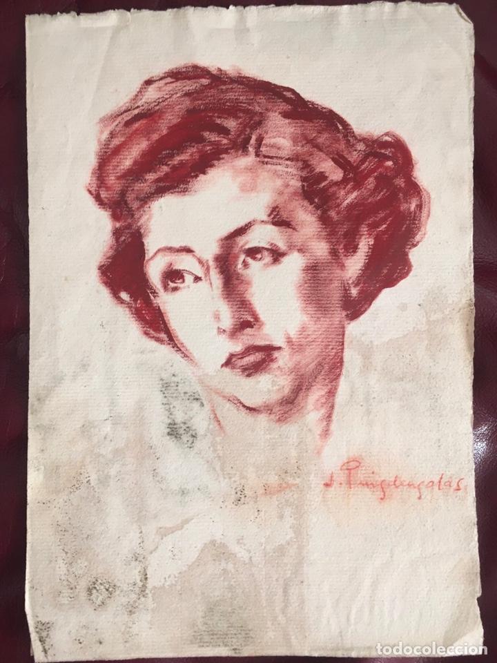 Arte: DIBUJO CON RETRATO FEMENINO DEL PINTOR JOSEP PUIGDENGOLAS BARELLA (BCN 1906-1987) - Foto 4 - 227957380
