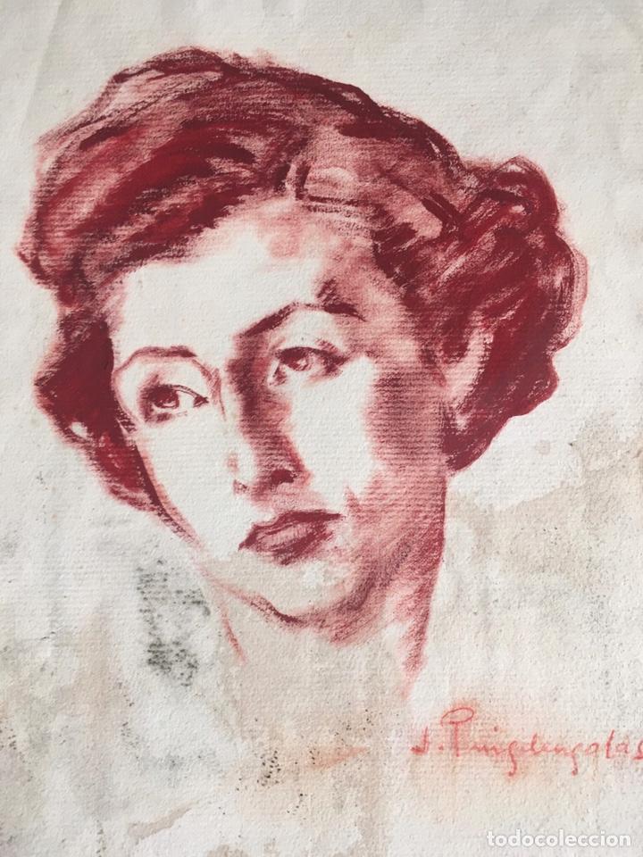 DIBUJO CON RETRATO FEMENINO DEL PINTOR JOSEP PUIGDENGOLAS BARELLA (BCN 1906-1987) (Arte - Dibujos - Contemporáneos siglo XX)