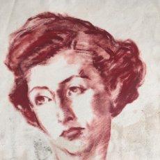 Arte: DIBUJO CON RETRATO FEMENINO DEL PINTOR JOSEP PUIGDENGOLAS BARELLA (BCN 1906-1987). Lote 227957380