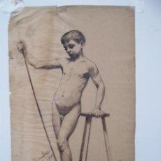 Arte: DESNUDO NIÑO CON BASTON (DIBUJO A LA PLUMA ) FIRMADO DOMINGO ESTABLIE 1904. Lote 228102225