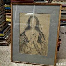 Arte: IMPRESIONANTE DIBUJO A LÁPIZ DE LA VIRGEN DEL PRESTIGIOSO PINTOR CATALÁN VIDAL ROLLAND . 30 X 42 CM. Lote 228121700