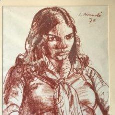 Arte: IGNASI MUNDO DIBUJO CERAS SOBRE PAPEL. RETRATO 1978.. Lote 228328290
