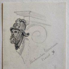 Arte: INTERESANTE APUNTE A LAPIZ ORIGINAL FIRMADO Y FECHADO 1896 R.B.. Lote 228442915