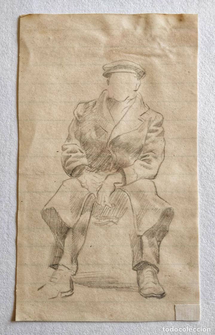 INTERESANTE APUNTE A LAPIZ ORIGINAL DE UN SOLDADO DE LA SEGUNDA GUERRA MUNDIAL, CALIDAD (Arte - Dibujos - Contemporáneos siglo XX)