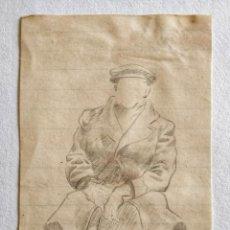 Arte: INTERESANTE APUNTE A LAPIZ ORIGINAL DE UN SOLDADO DE LA SEGUNDA GUERRA MUNDIAL, CALIDAD. Lote 228443116