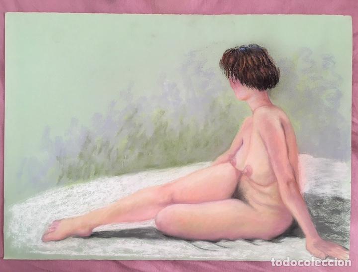 Arte: SALVADOR DORDAL ALCOLEA (BCN1932) Dibujo al pastel con desnudo femenino - Foto 2 - 228972305