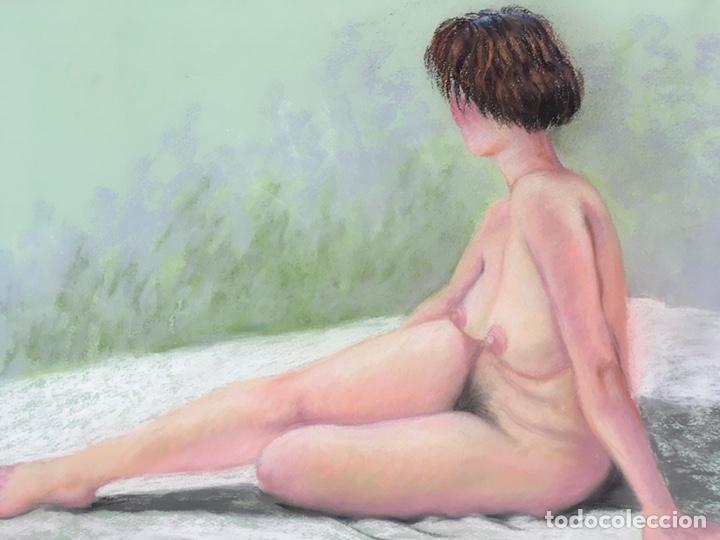 Arte: SALVADOR DORDAL ALCOLEA (BCN1932) Dibujo al pastel con desnudo femenino - Foto 3 - 228972305