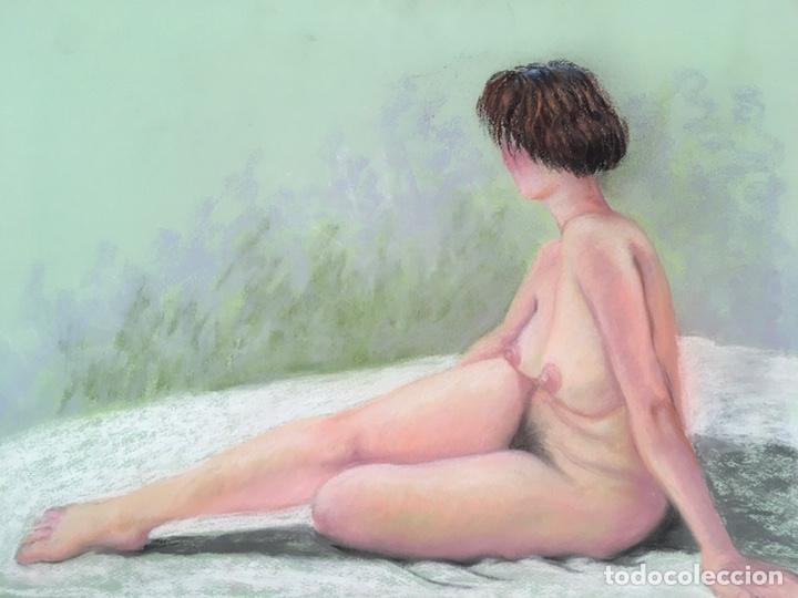 Arte: SALVADOR DORDAL ALCOLEA (BCN1932) Dibujo al pastel con desnudo femenino - Foto 4 - 228972305
