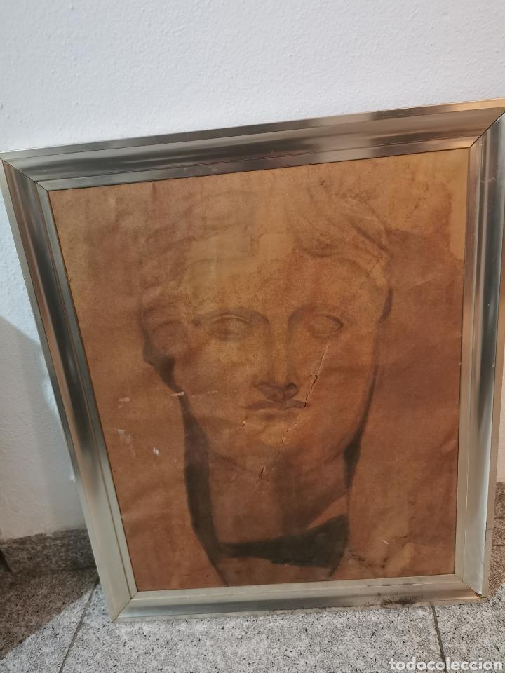 ANTIGUO CUADRO PINTADO A CARBONCILLO (Arte - Dibujos - Contemporáneos siglo XX)