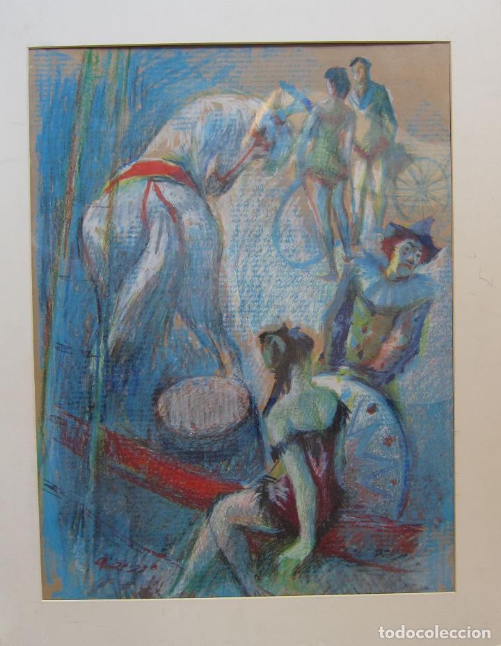 Arte: ALFREDO OPISSO. ESCENA DE CIRCO. CERAS. 63 x 48,5 cm. FIRMADO - Foto 2 - 229535195
