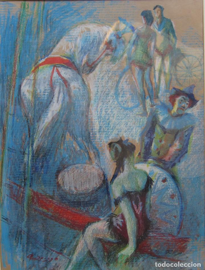 ALFREDO OPISSO. ESCENA DE CIRCO. CERAS. 63 X 48,5 CM. FIRMADO (Arte - Dibujos - Contemporáneos siglo XX)