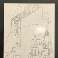 Arte: DIBUJO ORIGINAL DE MANOLO MILLARES SALL, EL PENSADOR. 35X25 CM. FIRMADO.. Lote 184379627
