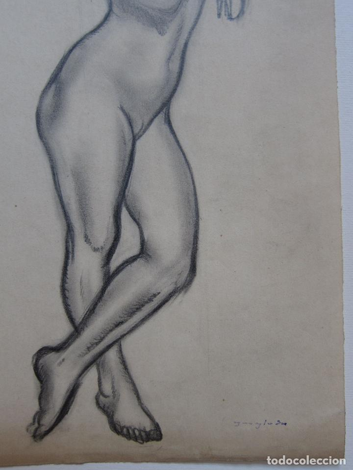 Arte: PERE YNGLADA. DESNUDO FEMENINO. CARBONCILLO. 35,5 x 18,5 cm, SELLO TESTAMENTARIA - Foto 2 - 230053785