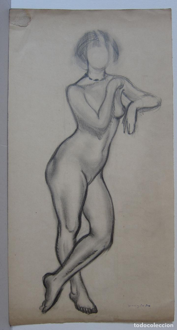PERE YNGLADA. DESNUDO FEMENINO. CARBONCILLO. 35,5 X 18,5 CM, SELLO TESTAMENTARIA (Arte - Dibujos - Modernos siglo XIX)