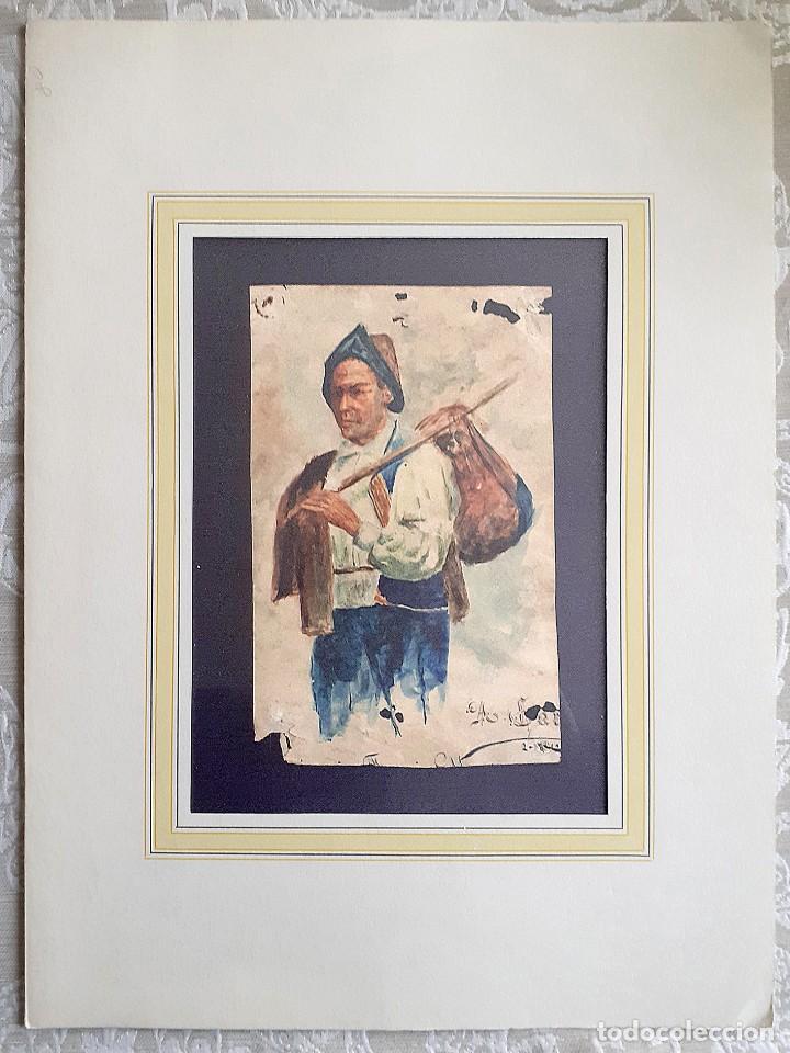 CAMPESINO CON HATILLO, DIBUJO ORIGINAL E INÉDITO DE ÁNGEL CARRASCO GARRORENA, CON PASPARTÚ Y ACETATO (Arte - Dibujos - Contemporáneos siglo XX)