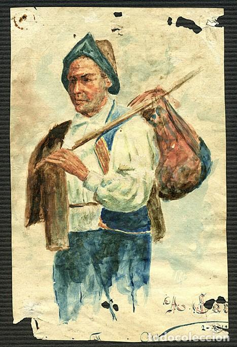 Arte: Campesino con hatillo, dibujo original e inédito de Ángel Carrasco Garrorena, con paspartú y acetato - Foto 2 - 230344605
