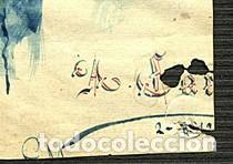 Arte: Campesino con hatillo, dibujo original e inédito de Ángel Carrasco Garrorena, con paspartú y acetato - Foto 3 - 230344605