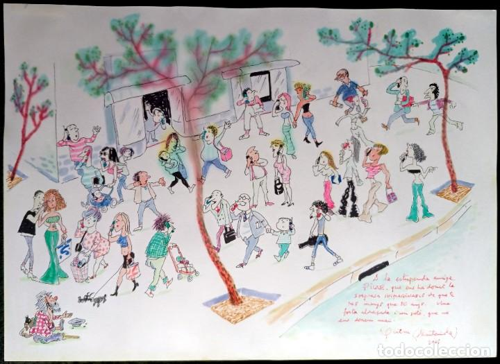 JOAQUIM MUNTAÑOLA - DIBUJO - COLOR - TEMÁTICA MÓVILES - DEDICADO - 46X33CM (Arte - Dibujos - Contemporáneos siglo XX)