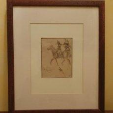 Arte: JOSEP CUSACHS (1858-1908) - DIBUJO A TINTA - NOTA DE SOLDADOS Y CABALLO.. Lote 231252835