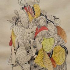 Arte: INTERESANTE DIBUJO SURREALISTA, RETRATO, FIRMADO H. VALENZUELA. ENMARCADO.. Lote 231651200