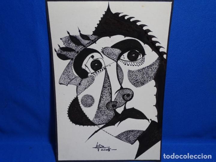 DIBUJO A TINTA DEL POLIFACÉTICO POETA CERAMISTA Y DIBUJANTE LLUÍS FERRER I BADENAS FALLECIDO EN 2010 (Arte - Dibujos - Contemporáneos siglo XX)