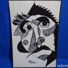 Arte: DIBUJO A TINTA DEL POLIFACÉTICO POETA CERAMISTA Y DIBUJANTE LLUÍS FERRER I BADENAS FALLECIDO EN 2010. Lote 231718800