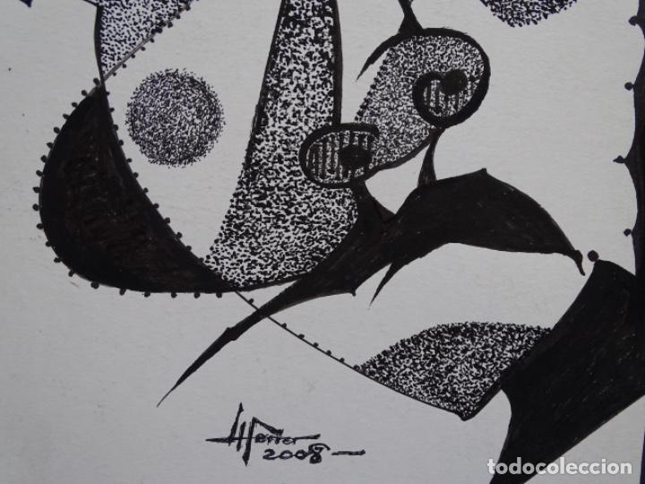 Arte: DIBUJO A TINTA DEL POLIFACÉTICO POETA CERAMISTA Y DIBUJANTE LLUÍS FERRER I BADENAS FALLECIDO EN 2010 - Foto 5 - 231718800