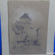 Arte: ANTIGUO DIBUJO DEL SIGLO XIX DE LUIS PI GIBERT.. Lote 231923490