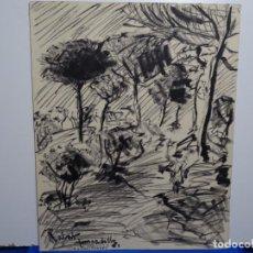 Arte: DIBUJO DE RABAT JUNCADELLA.1962.CASTELLTERSOL 1961.. Lote 231924360