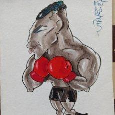 Arte: BOXEO. DIBUJO ORIGINAL DE MIKE TYSON, DE FERNANDO VINYES. ADMITE OFERTAS.. Lote 232561210