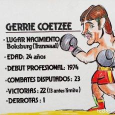 Arte: BOXEO. DOS DIBUJOS ORIGINALES DE GERRIE COETZE, DE FERNANDO VINYES. ADMITE OFERTAS.. Lote 232608533