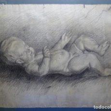Arte: ANTIGUO DIBUJO A CARBONCILLO-LÁPIZ.NIÑO.ANONIMO.BUEN TRAZO SEGURO.MAESTRO.. Lote 233176565