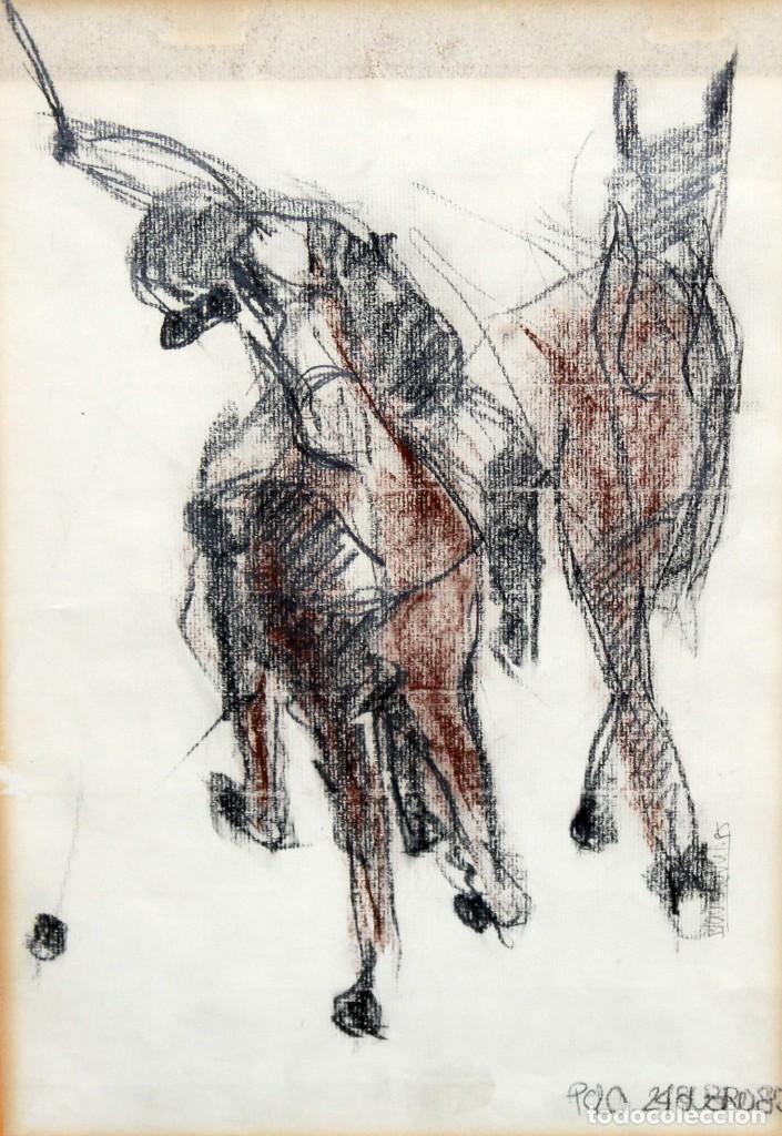 BLANCA VERNIS DOMENECH (BARCELONA, 1961) DIBUJO A CARBON FIRMADO DEL AÑO 1985. REAL CLUB DE POLO (Arte - Dibujos - Contemporáneos siglo XX)
