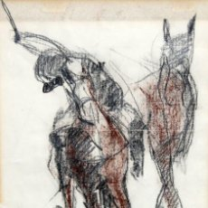Arte: BLANCA VERNIS DOMENECH (BARCELONA, 1961) DIBUJO A CARBON FIRMADO DEL AÑO 1985. REAL CLUB DE POLO. Lote 234104260