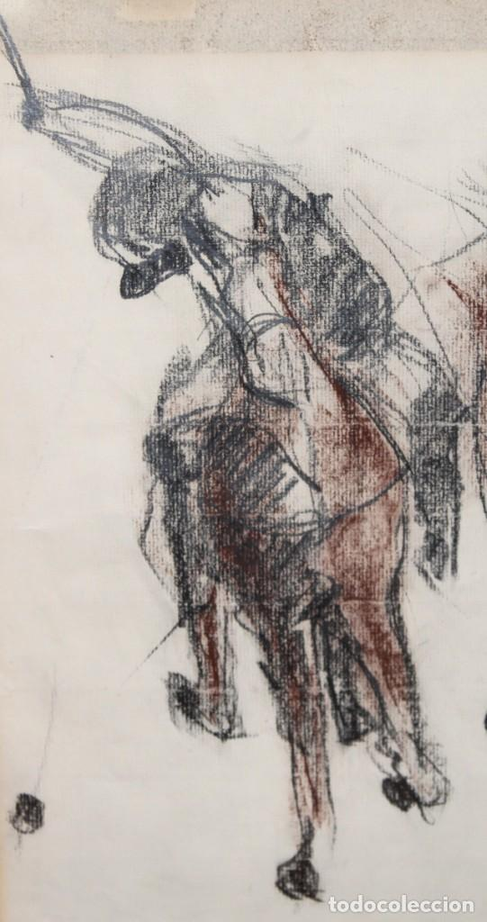 Arte: BLANCA VERNIS DOMENECH (Barcelona, 1961) DIBUJO A CARBON FIRMADO DEL AÑO 1985. REAL CLUB DE POLO - Foto 3 - 234104260