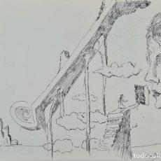 Arte: COMPOSICIÓN ABSTRACTA. DIBUJO A TINTA SOBRE PAPEL. ANGEL PLANELLS. 1987.. Lote 234300210