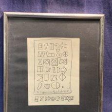 Art: DIBUJO ABSTRACTO COMPOSICION GEOMETRICO JEROGLIFICOS FIRMA RUSO ILEGIBLE AÑO 1971 39X34CMS. Lote 234316795