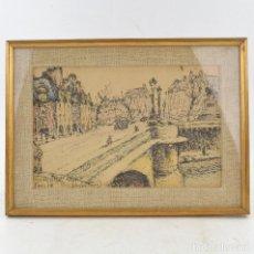 Arte: PONT NEUF, PARIS, 1964, DIBUJO, FIRMA ILEGIBLE, CON MARCO. 24X15,5CM. Lote 234449430