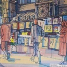 Arte: QUAI MONTEBELLO. PARIS 1958. DIBUJO A ROTULADOR COLOREADO 50X70CM. ESTADO SEGUN FOTOS... Lote 234475965