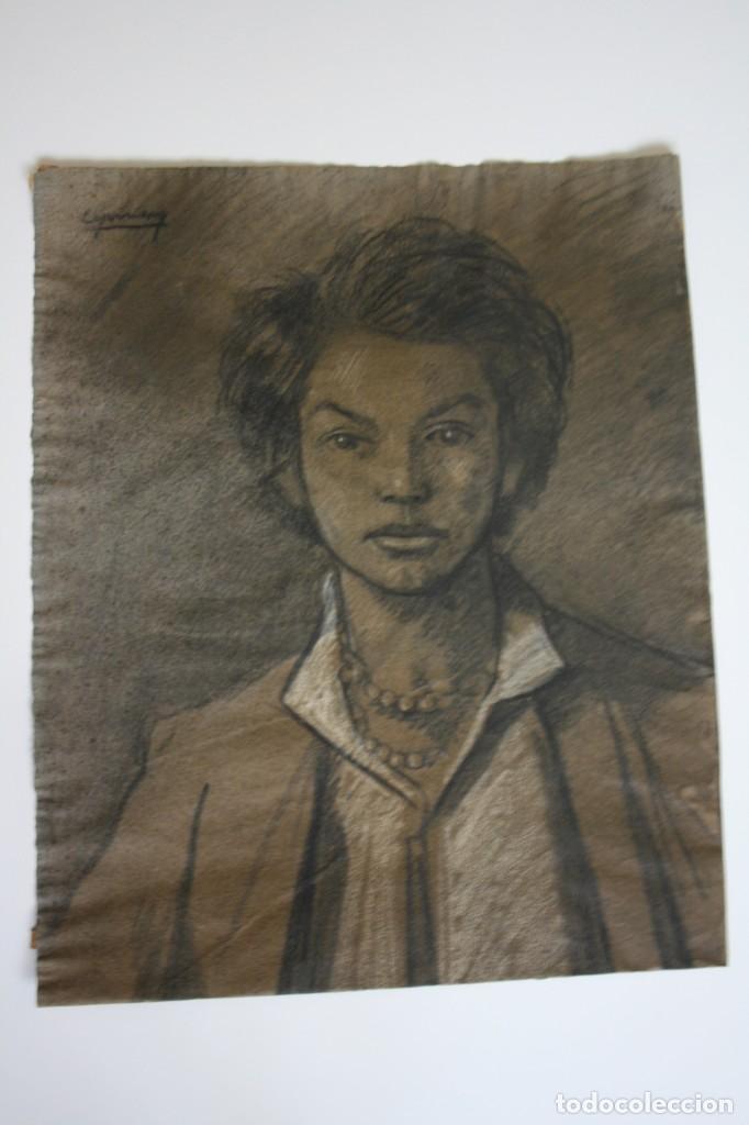 RAMÓN DE CAPMANY Y MONTANER (1899 - 1992) EXCELENTE RETRATO DE 1920-30. OBRA TENPRANA. (Arte - Dibujos - Contemporáneos siglo XX)