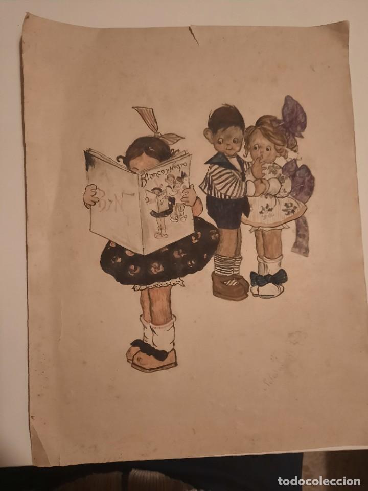 LAMINA PINTADA Y FIRMADA ANTIGUA.BLANCO Y NEGRO (Arte - Dibujos - Antiguos hasta el siglo XVIII)