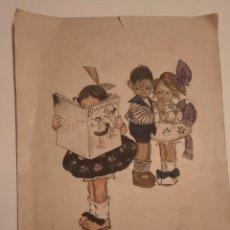Arte: LAMINA PINTADA Y FIRMADA ANTIGUA.BLANCO Y NEGRO. Lote 234770020