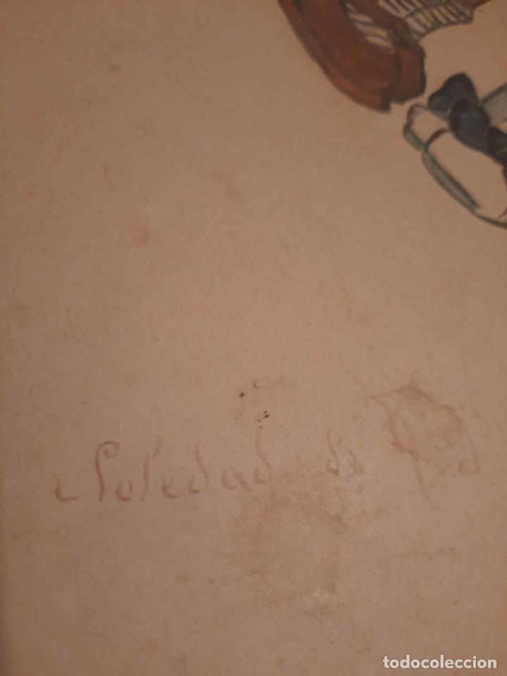 Arte: Lamina pintada y Firmada antigua.Blanco y negro - Foto 2 - 234770020
