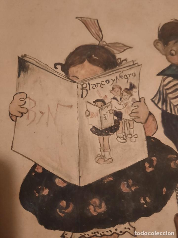 Arte: Lamina pintada y Firmada antigua.Blanco y negro - Foto 3 - 234770020